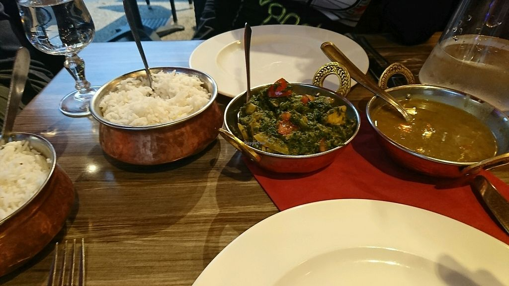 """Photo of Annapurna  by <a href=""""/members/profile/Macarone"""">Macarone</a> <br/>Ayurveda lentils and saag aloo with plain rice  <br/> August 24, 2017  - <a href='/contact/abuse/image/26359/296778'>Report</a>"""
