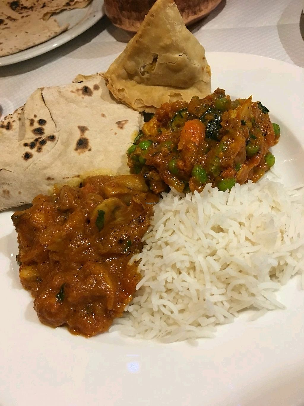 """Photo of Annapurna  by <a href=""""/members/profile/EmmaNibbs"""">EmmaNibbs</a> <br/>Chapatis, veg samosa, mushroom bajee, basmati rice and another veg curry we can't remember the name of: <br/> March 18, 2018  - <a href='/contact/abuse/image/26359/372589'>Report</a>"""