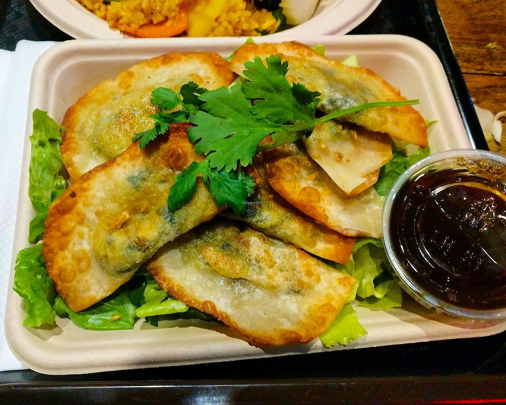 "Photo of Thai Vegan  by <a href=""/members/profile/zenmaestro"">zenmaestro</a> <br/>vegetable dumplings -fried <br/> November 23, 2017  - <a href='/contact/abuse/image/26369/328305'>Report</a>"