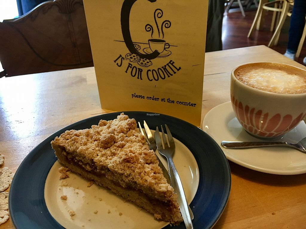 """Photo of C is for Cookie  by <a href=""""/members/profile/turtleveg"""">turtleveg</a> <br/>vegan apple pie and almond milk cappuccino  <br/> July 28, 2017  - <a href='/contact/abuse/image/26399/285716'>Report</a>"""