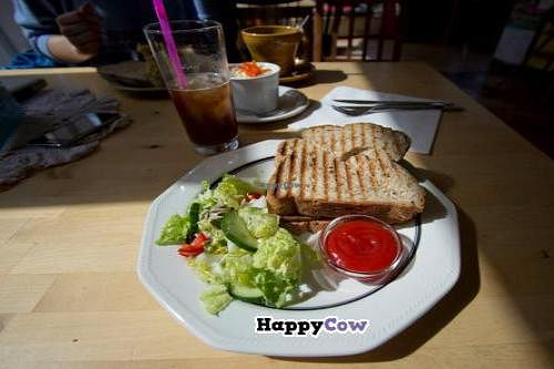 """Photo of C is for Cookie  by <a href=""""/members/profile/Meggie%20and%20Ben"""">Meggie and Ben</a> <br/>Vegan grilled tofu sandwich with mushrooms instead of cheese. Comes with a salad and some ketchup <br/> July 21, 2013  - <a href='/contact/abuse/image/26399/51856'>Report</a>"""