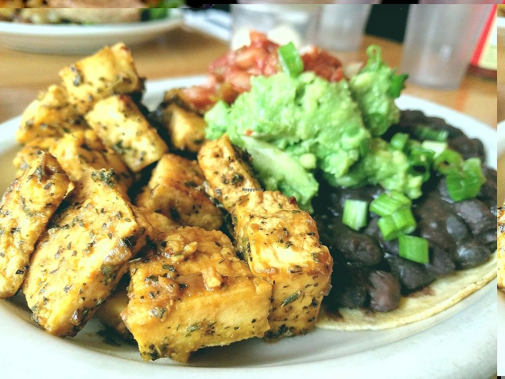 """Photo of Sunlight Cafe  by <a href=""""/members/profile/The%20Hungry%20Vegan"""">The Hungry Vegan</a> <br/>Vegan Sunlight Huevos Rancheros <br/> September 3, 2017  - <a href='/contact/abuse/image/2639/300640'>Report</a>"""