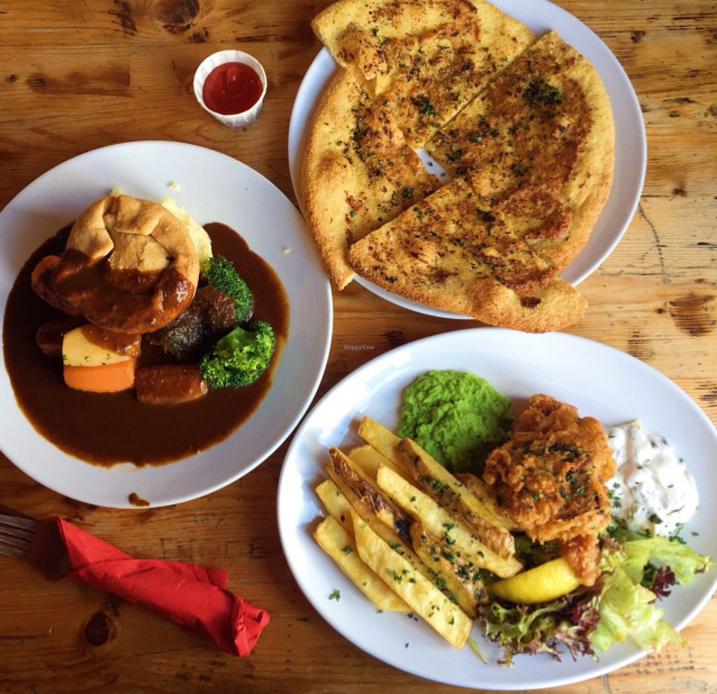 """Photo of The Railway Hotel  by <a href=""""/members/profile/Cjlelliott"""">Cjlelliott</a> <br/>ham and leek pie, tofu-ish and chips and a side of garlic bread <br/> July 3, 2016  - <a href='/contact/abuse/image/26414/157614'>Report</a>"""