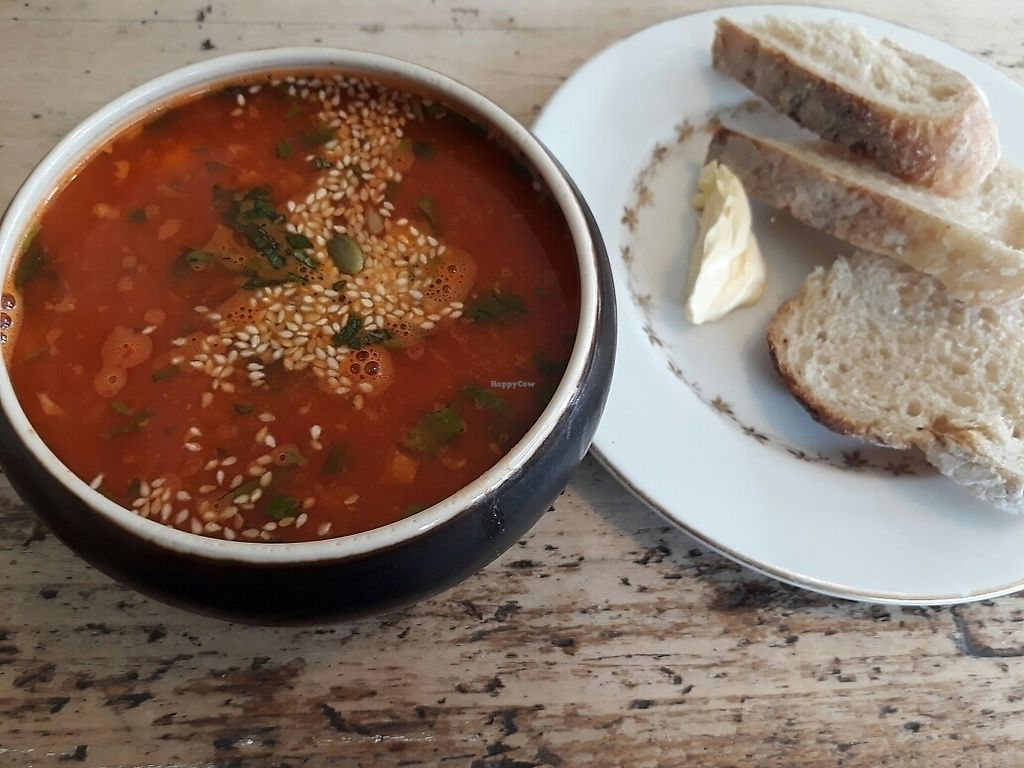 "Photo of Blue Brick Cafe  by <a href=""/members/profile/LilacHippy"">LilacHippy</a> <br/>Spiced lentil soup with sourdough bread <br/> June 27, 2017  - <a href='/contact/abuse/image/26415/274077'>Report</a>"