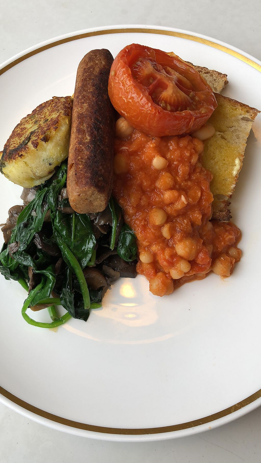 "Photo of Blue Brick Cafe  by <a href=""/members/profile/AtiyaDavids"">AtiyaDavids</a> <br/>Vegan (large) full English  <br/> April 2, 2018  - <a href='/contact/abuse/image/26415/379778'>Report</a>"