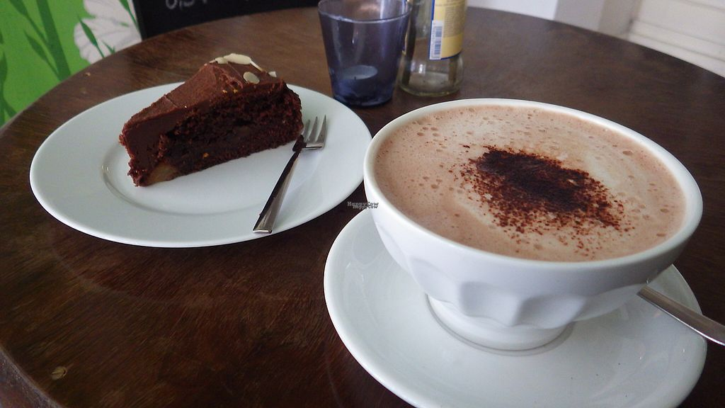 """Photo of Die Rebellion des Zimtsterns  by <a href=""""/members/profile/deadpledge"""">deadpledge</a> <br/>Vegan chocolate cake and hot chocolate <br/> April 20, 2017  - <a href='/contact/abuse/image/26427/250287'>Report</a>"""
