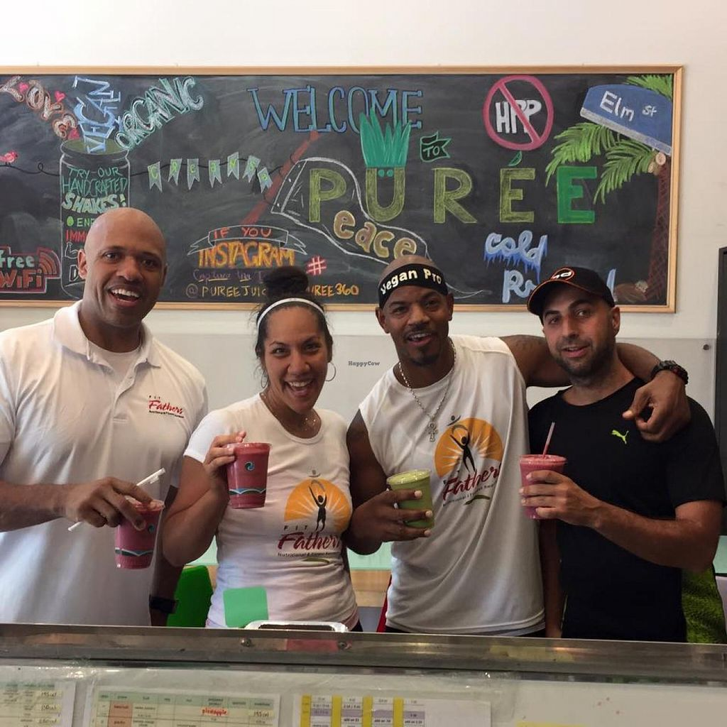 "Photo of Puree Juice Bar  by <a href=""/members/profile/Fit_Fathers"">Fit_Fathers</a> <br/>Drinking clean after spin class at SoulCycle Bethesda with the Fit Fathers team! <br/> June 26, 2015  - <a href='/contact/abuse/image/26493/107375'>Report</a>"