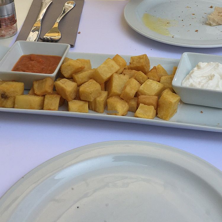 """Photo of Copenhagen  by <a href=""""/members/profile/JuanBonnin"""">JuanBonnin</a> <br/>patatas bravas with vegan alli olí <br/> October 13, 2016  - <a href='/contact/abuse/image/26500/181821'>Report</a>"""
