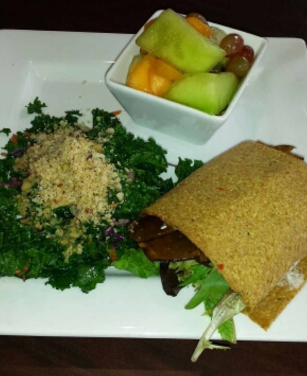 """Photo of Good Life Cafe  by <a href=""""/members/profile/nellie1273"""">nellie1273</a> <br/>Eggplant bacon wrap with kale salad <br/> November 17, 2015  - <a href='/contact/abuse/image/26543/224358'>Report</a>"""