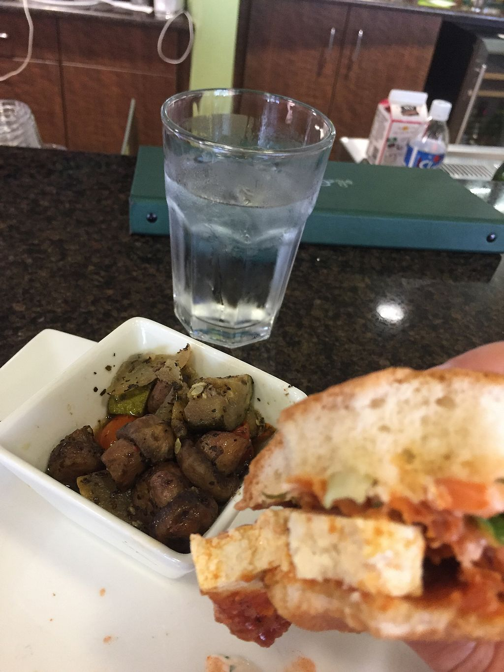 """Photo of Good Life Cafe  by <a href=""""/members/profile/sopranonerd"""">sopranonerd</a> <br/>Buffalo Chicken-less sandwich and grilled veggies <br/> August 23, 2017  - <a href='/contact/abuse/image/26543/296428'>Report</a>"""