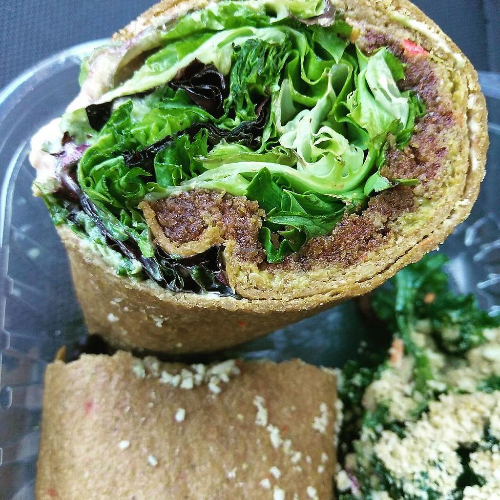 """Photo of Good Life Cafe  by <a href=""""/members/profile/maidenthesouth"""">maidenthesouth</a> <br/>Burrito with walnut meat and kale salad in the background <br/> September 26, 2017  - <a href='/contact/abuse/image/26543/308572'>Report</a>"""