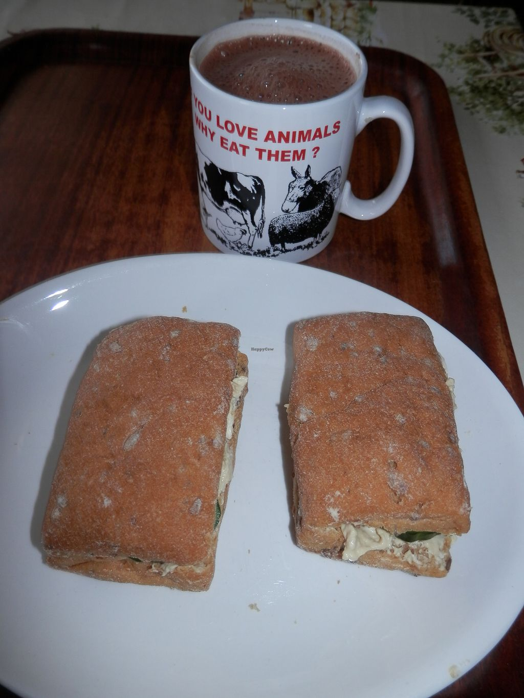 "Photo of Hillside Shire Horse Sanctuary Cafe  by <a href=""/members/profile/Vegan_Belle"">Vegan_Belle</a> <br/>Gluten free rolls filled with hummus and cucumber and a mug of hot chocolate <br/> October 4, 2017  - <a href='/contact/abuse/image/26581/311749'>Report</a>"