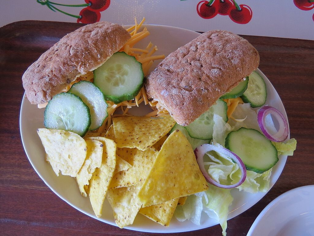 "Photo of Hillside Shire Horse Sanctuary Cafe  by <a href=""/members/profile/Vegan_Belle"">Vegan_Belle</a> <br/>Gluten free rolls filled with vegan cheese and cucumber.  Served with a side salad and corn chips <br/> March 28, 2018  - <a href='/contact/abuse/image/26581/377213'>Report</a>"