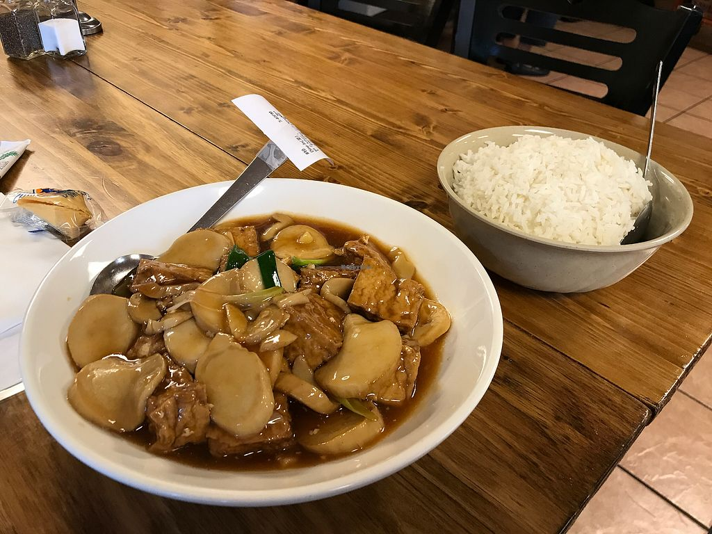 """Photo of The Golden Harbor  by <a href=""""/members/profile/nafanc"""">nafanc</a> <br/>Tofu and oyster mushrooms <br/> October 8, 2017  - <a href='/contact/abuse/image/26587/313039'>Report</a>"""