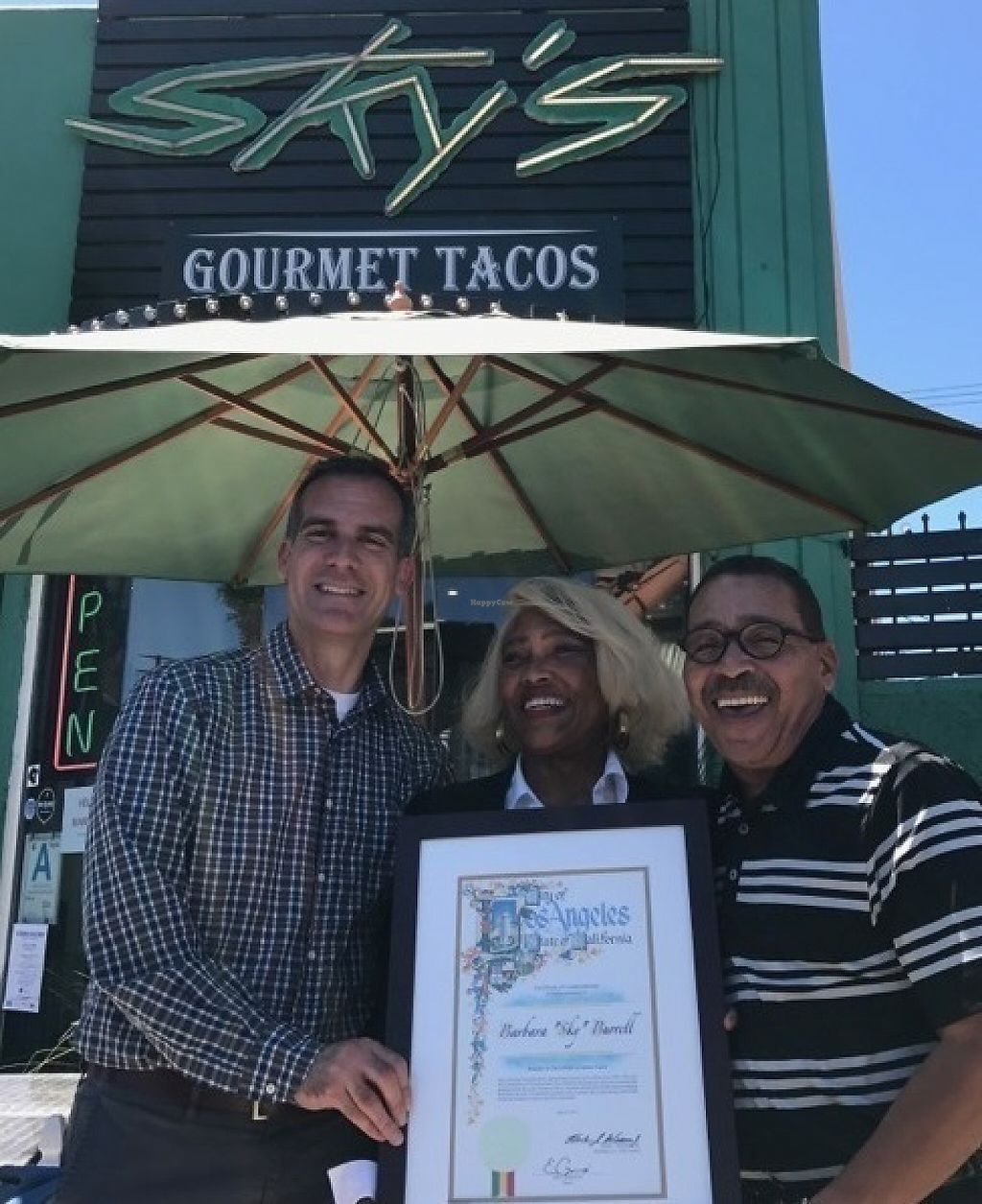 "Photo of Sky's Tacos  by <a href=""/members/profile/askapg%40aol.com"">askapg@aol.com</a> <br/>Mayor Garcetti and Councilman Wesson with Sky's owner Barbara Burrell <br/> May 26, 2017  - <a href='/contact/abuse/image/26620/262703'>Report</a>"