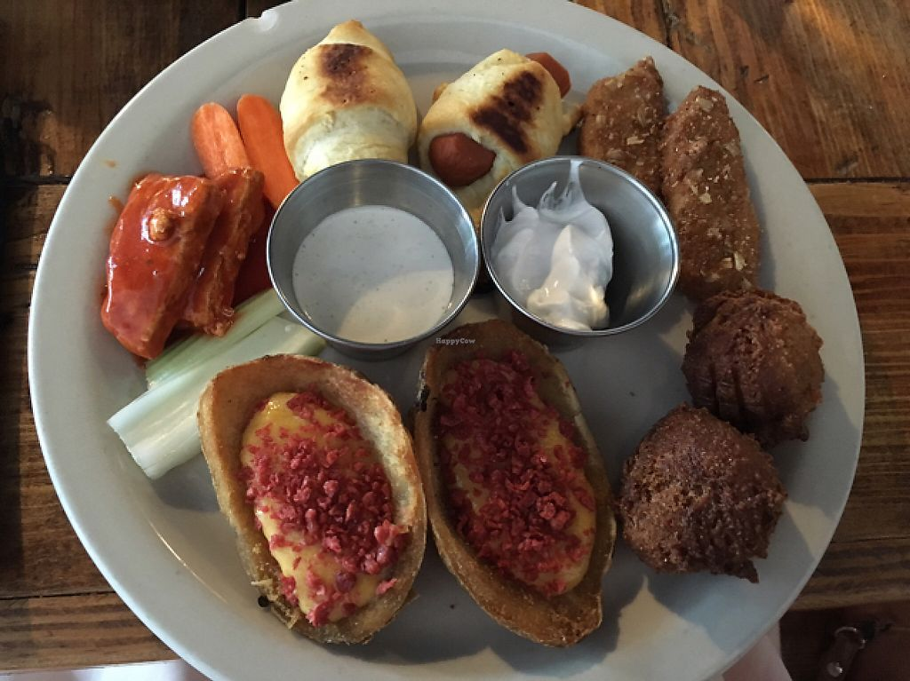 """Photo of Imagine Vegan Cafe  by <a href=""""/members/profile/monisonfire"""">monisonfire</a> <br/>mixed appetizer plate <br/> May 7, 2017  - <a href='/contact/abuse/image/26621/256579'>Report</a>"""