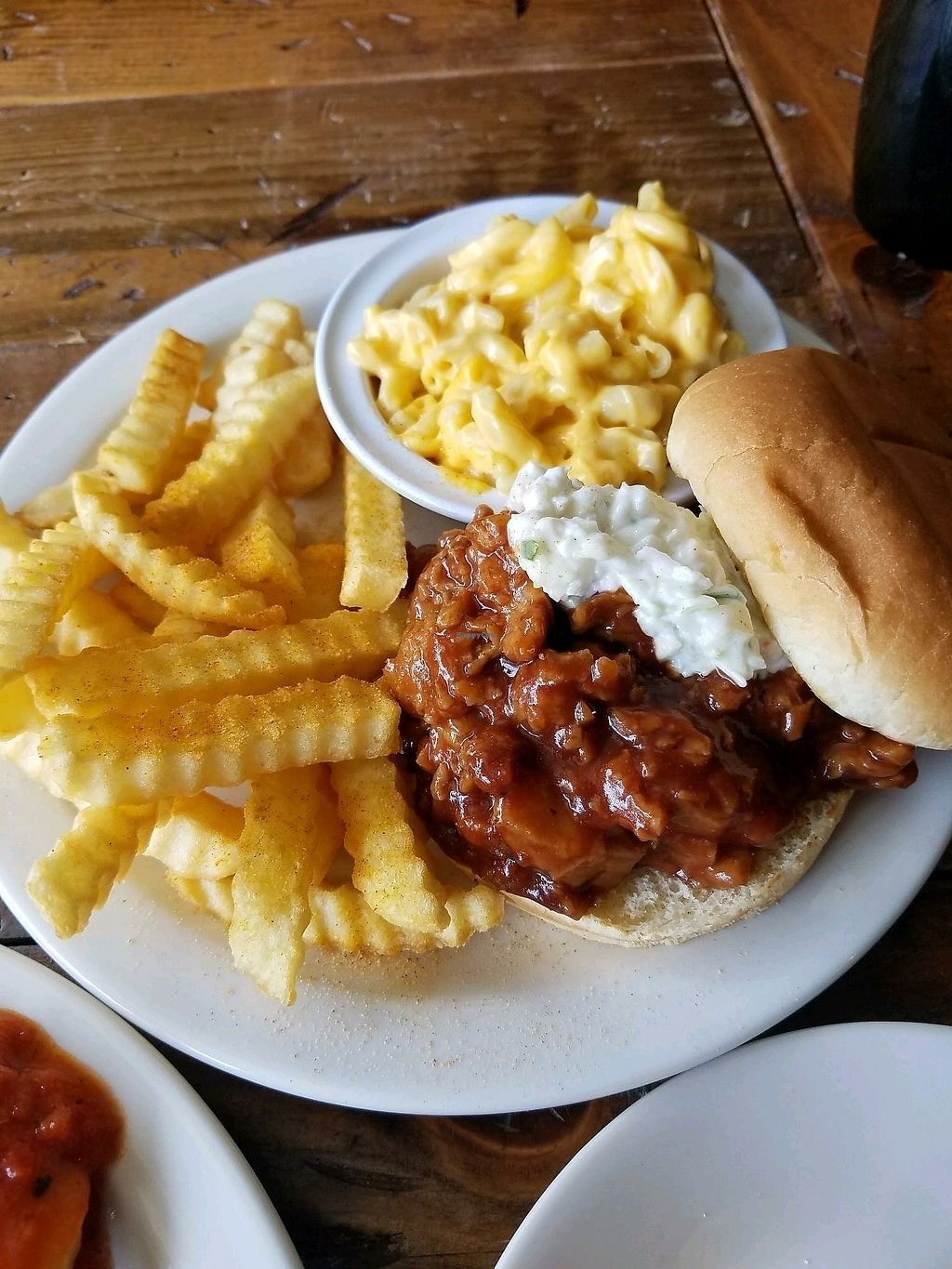 """Photo of Imagine Vegan Cafe  by <a href=""""/members/profile/NickJ"""">NickJ</a> <br/>Memphis BBQ and Mac and Cheese <br/> October 2, 2017  - <a href='/contact/abuse/image/26621/311156'>Report</a>"""