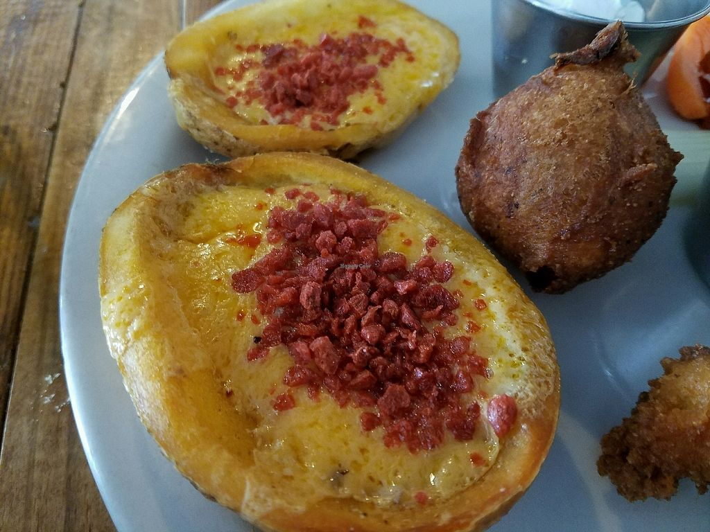 """Photo of Imagine Vegan Cafe  by <a href=""""/members/profile/jad37379"""">jad37379</a> <br/>twice baked potato skins <br/> March 2, 2018  - <a href='/contact/abuse/image/26621/365756'>Report</a>"""
