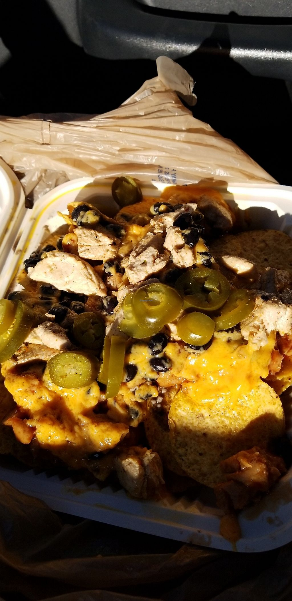 """Photo of Imagine Vegan Cafe  by <a href=""""/members/profile/Beth2rich"""">Beth2rich</a> <br/>Vegan bbq nachos and we added faux chicken and black beans :) <br/> May 7, 2018  - <a href='/contact/abuse/image/26621/396643'>Report</a>"""