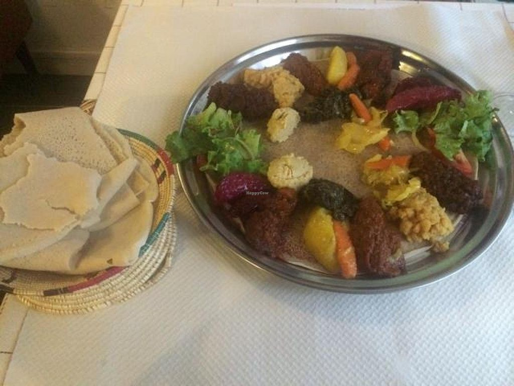 """Photo of Abyssinia  by <a href=""""/members/profile/Yakimom"""">Yakimom</a> <br/>Yetsom Bayaynetou (vegetarian platter)  <br/> August 5, 2014  - <a href='/contact/abuse/image/26630/76124'>Report</a>"""
