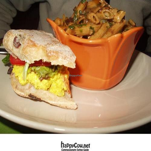 "Photo of REMOVED: Fig  by <a href=""/members/profile/PennsyltuckyVeggie"">PennsyltuckyVeggie</a> <br/>Eggless Egg Salad Sandwich on Kalamata Olive Ciabatta and a side of pasta salad <br/> October 25, 2011  - <a href='/contact/abuse/image/26632/11540'>Report</a>"