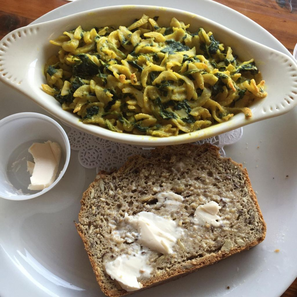 """Photo of Flying Apron Bakery  by <a href=""""/members/profile/Mrs_Rowe"""">Mrs_Rowe</a> <br/>Mac & Cheeze, multi grain bread with vegan butter <br/> July 14, 2015  - <a href='/contact/abuse/image/26683/109346'>Report</a>"""