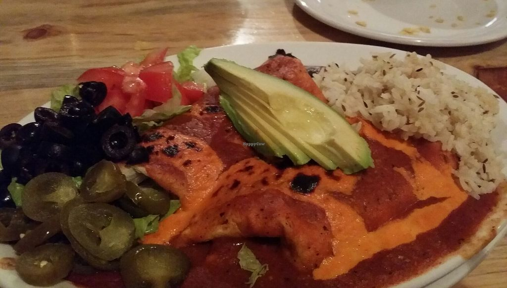 "Photo of Sweet Melissa Cafe  by <a href=""/members/profile/purplesnowcone"">purplesnowcone</a> <br/>enchilada platter with vegan cashew cheese and avocado instead of sour cream <br/> August 24, 2017  - <a href='/contact/abuse/image/2669/296555'>Report</a>"