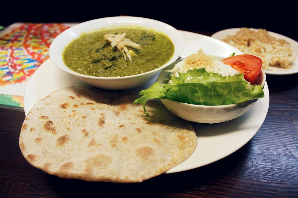 "Photo of Sujata  by <a href=""/members/profile/YukiLim"">YukiLim</a> <br/>Indian set meal with flatbread and curry <br/> July 18, 2017  - <a href='/contact/abuse/image/26720/281625'>Report</a>"