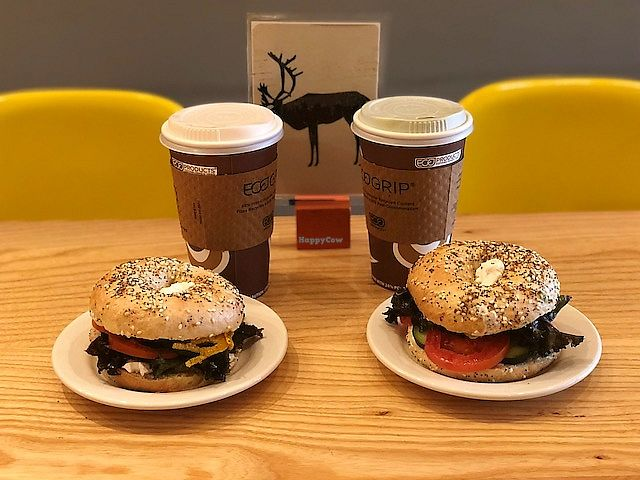 """Photo of Dulce Vegan Bakery and Cafe  by <a href=""""/members/profile/Dancingpurplemermaid"""">Dancingpurplemermaid</a> <br/>Breakfast bagels and coffee <br/> April 19, 2018  - <a href='/contact/abuse/image/26735/388280'>Report</a>"""
