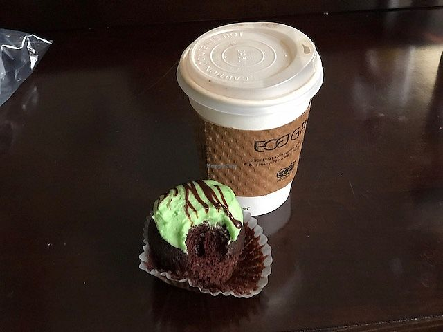 """Photo of Dulce Vegan Bakery and Cafe  by <a href=""""/members/profile/Dancingpurplemermaid"""">Dancingpurplemermaid</a> <br/>Chai Latte with oat milk and chocolate mint cupcake <br/> April 19, 2018  - <a href='/contact/abuse/image/26735/388281'>Report</a>"""