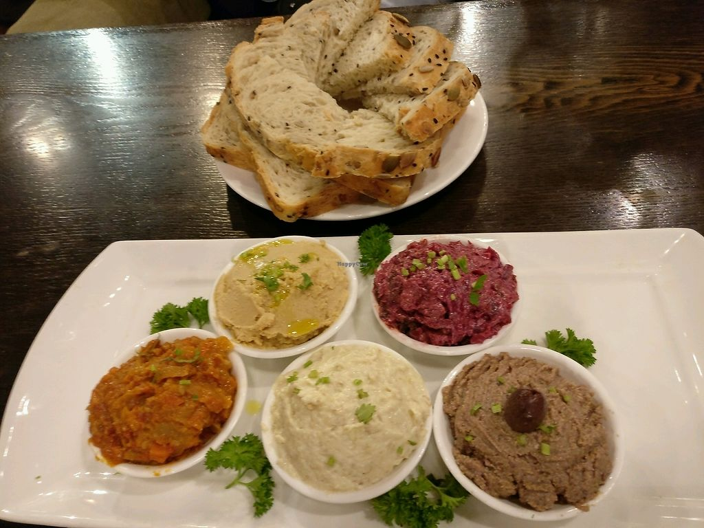 """Photo of CLOSED: The Veggie Table  by <a href=""""/members/profile/cdnvegan"""">cdnvegan</a> <br/>Mezi mixed dip and salad platter <br/> October 4, 2017  - <a href='/contact/abuse/image/26742/311606'>Report</a>"""