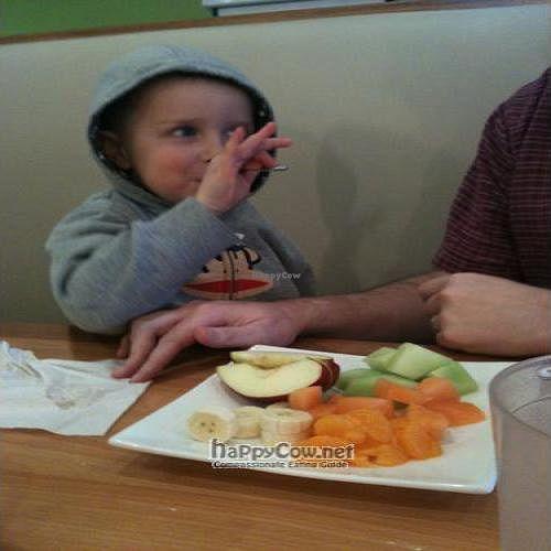 """Photo of Pure Healthy Eatery  by <a href=""""/members/profile/LoriKetcherside"""">LoriKetcherside</a> <br/>DS eating the Fruit Plate <br/> July 13, 2011  - <a href='/contact/abuse/image/26793/9642'>Report</a>"""