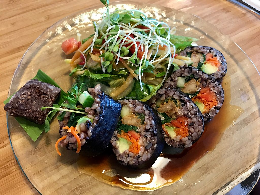 """Photo of Choice Health Bar  by <a href=""""/members/profile/FatTonyBMX"""">FatTonyBMX</a> <br/>Epic Entree special: BBQ tempeh roll with salad and chia brownie <br/> December 10, 2017  - <a href='/contact/abuse/image/26808/334115'>Report</a>"""