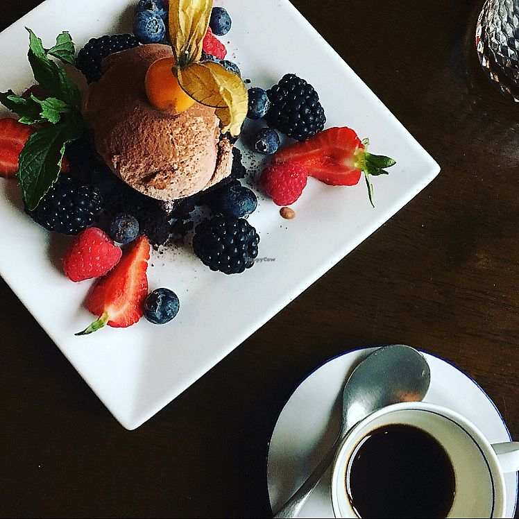 """Photo of Cafe Roya  by <a href=""""/members/profile/Spaghetti_monster"""">Spaghetti_monster</a> <br/>vegan peanut butter and chocolate brownie with dairy free chocolate ice cream <br/> June 27, 2017  - <a href='/contact/abuse/image/26824/274180'>Report</a>"""