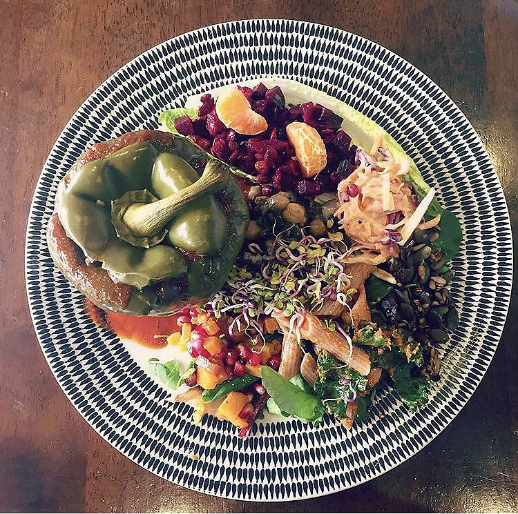 """Photo of Cafe Roya  by <a href=""""/members/profile/_vegayn_"""">_vegayn_</a> <br/>Stuffed peppers (vegan) <br/> April 11, 2018  - <a href='/contact/abuse/image/26824/384143'>Report</a>"""