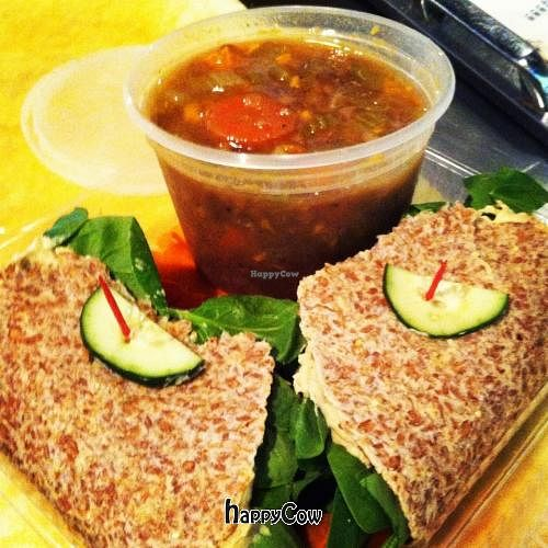 """Photo of CLOSED: Cosmic Coconut  by <a href=""""/members/profile/Cosmic%20Coconut"""">Cosmic Coconut</a> <br/>Hummus Wrap and Fresh Soup <br/> September 3, 2012  - <a href='/contact/abuse/image/26832/37432'>Report</a>"""