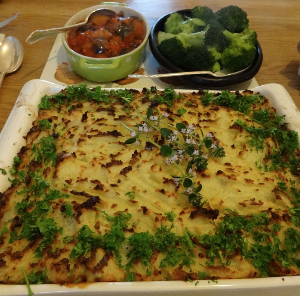 """Photo of Vegetarian Lakeland Living  by <a href=""""/members/profile/gins"""">gins</a> <br/>Mushroom and lentil pie with lemon thyme, sides of aubergine in tomatoes and steamed broccoli  <br/> June 22, 2016  - <a href='/contact/abuse/image/26833/155466'>Report</a>"""