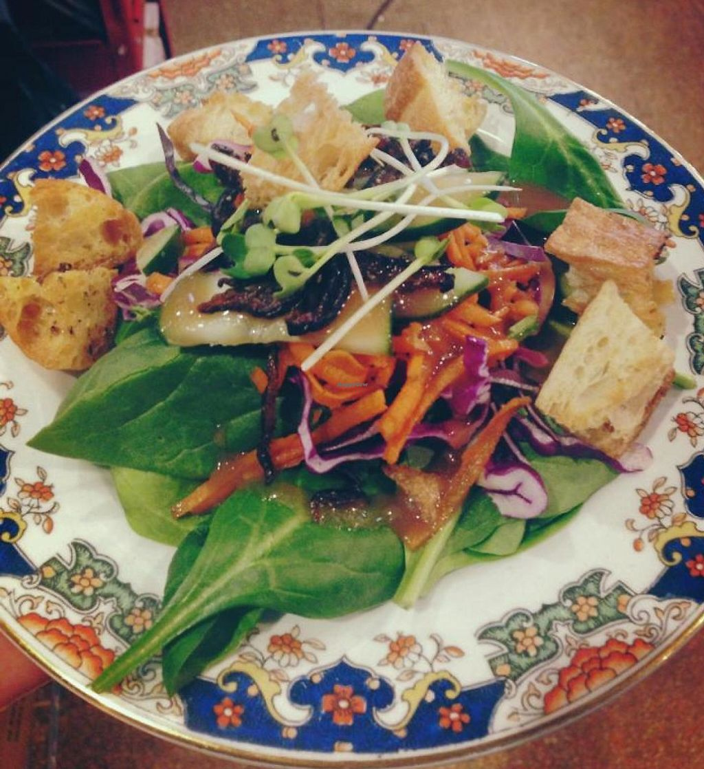 """Photo of Red Emma's Bookstore Coffeehouse  by <a href=""""/members/profile/canephora"""">canephora</a> <br/>Spinach salad with shiitake bacon, house-made croutons and house dressing.  <br/> February 11, 2014  - <a href='/contact/abuse/image/26834/201664'>Report</a>"""