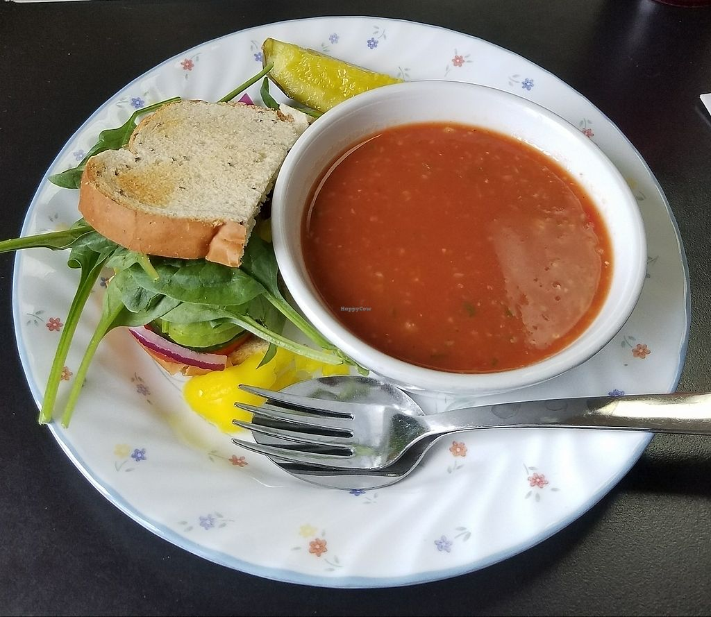 """Photo of Desert Rose Cafe  by <a href=""""/members/profile/slsbates"""">slsbates</a> <br/>Gazpacho soup and Veggie Sandwich <br/> August 5, 2017  - <a href='/contact/abuse/image/26874/289280'>Report</a>"""