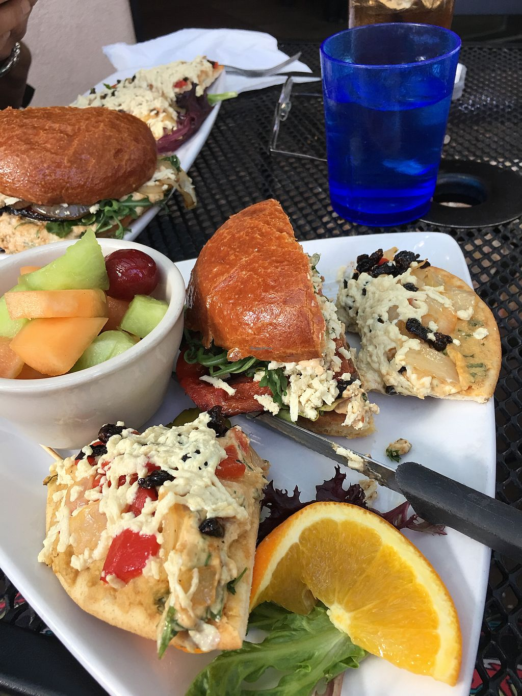 """Photo of Secret Garden Cafe  by <a href=""""/members/profile/VeganHappy334"""">VeganHappy334</a> <br/>Secret Garden 2 slices of hummus pizza and 1/2 portobello Sandwich  <br/> January 21, 2018  - <a href='/contact/abuse/image/26898/349105'>Report</a>"""