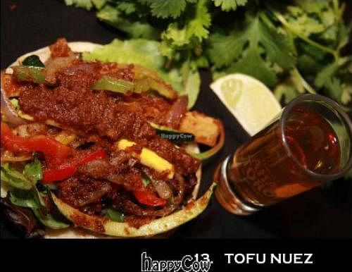 """Photo of CLOSED: Yayo Taco  by <a href=""""/members/profile/YayoTaco"""">YayoTaco</a> <br/>tofu nuez 2 types of thai peanut sauce baked tofu strips mixed seasonal squash, peppers, onions over bed of greens toasted white corn tortilla <br/> May 14, 2013  - <a href='/contact/abuse/image/26899/48203'>Report</a>"""