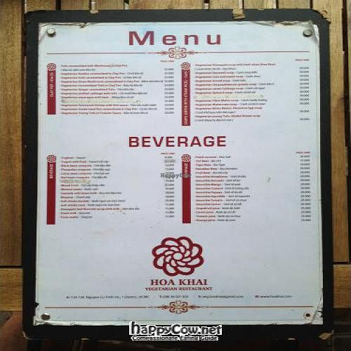 "Photo of Hoa Khai Vegetarian Restaurant  by <a href=""/members/profile/darrylyoung"">darrylyoung</a> <br/>The back of the menu 