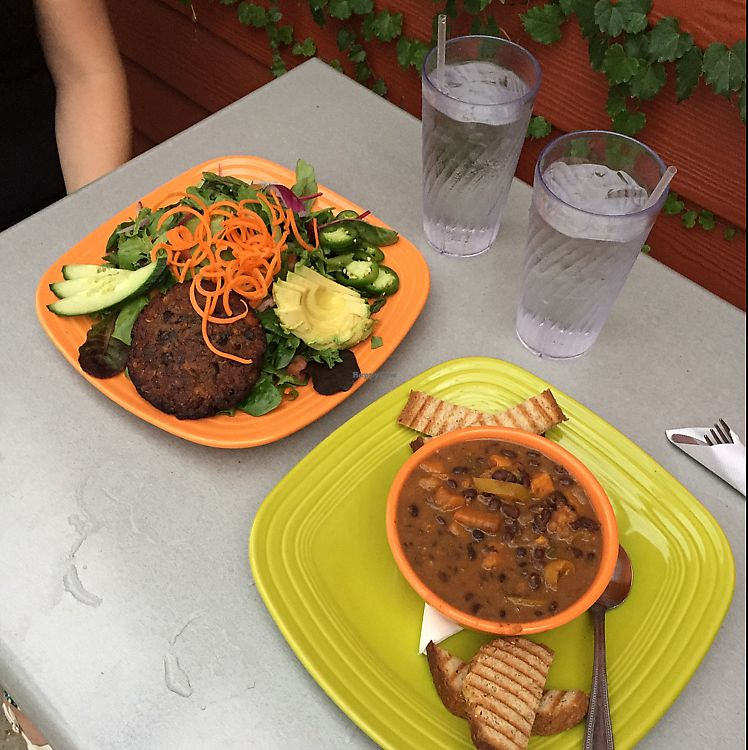 "Photo of Lotus Leaf Cafe  by <a href=""/members/profile/MaddyR"">MaddyR</a> <br/>black bean burger salad & black bean sweet potato soup <br/> June 16, 2017  - <a href='/contact/abuse/image/27044/269604'>Report</a>"