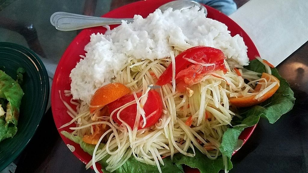 """Photo of Tina's Garden Gourmet Cafe  by <a href=""""/members/profile/RobinPLA"""">RobinPLA</a> <br/>Green papaya salad with coconut rice <br/> December 22, 2016  - <a href='/contact/abuse/image/27071/204148'>Report</a>"""