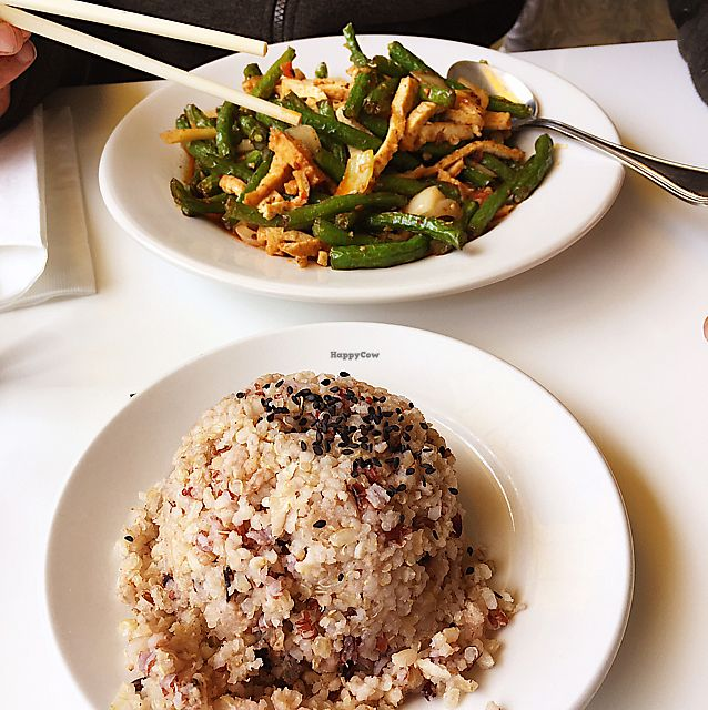 """Photo of Loving Hut - Sunset District  by <a href=""""/members/profile/MFOPhotography"""">MFOPhotography</a> <br/>Green beans and tofu with multigrain rice <br/> June 7, 2017  - <a href='/contact/abuse/image/27072/266690'>Report</a>"""