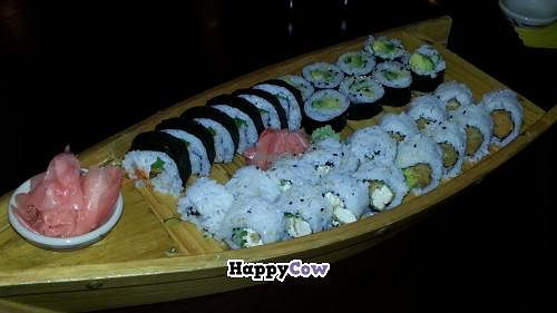 """Photo of Thai Samurai  by <a href=""""/members/profile/eric"""">eric</a> <br/>sushi boat special with 4 types of vegan sushi. sweet potato, cucumber, spicy tofu <br/> October 28, 2013  - <a href='/contact/abuse/image/27077/57474'>Report</a>"""