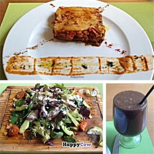 """Photo of Crucina Restaurante  by <a href=""""/members/profile/vascovegan"""">vascovegan</a> <br/>Moussaka, Avocado Salad, and ChocoBliss <br/> November 3, 2013  - <a href='/contact/abuse/image/27102/57816'>Report</a>"""