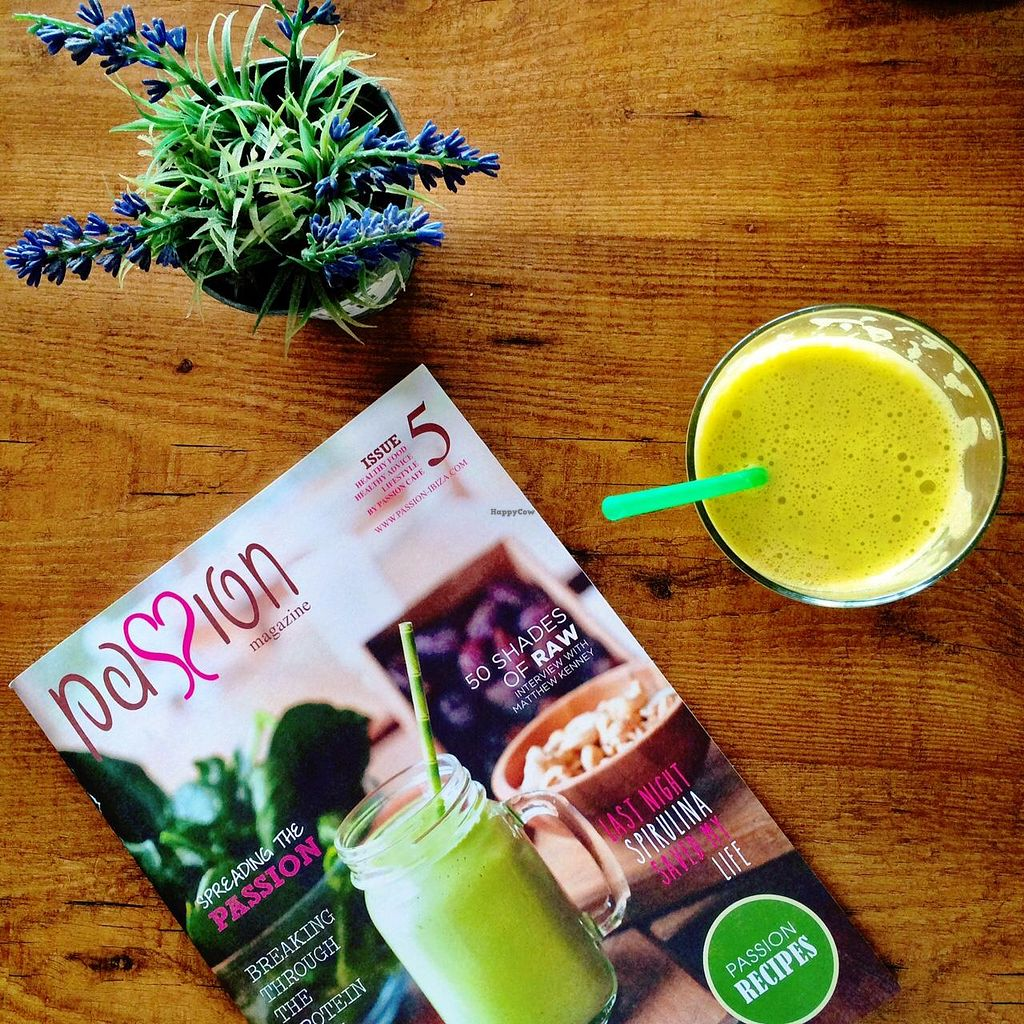 """Photo of Passion Cafe Playa den Bossa  by <a href=""""/members/profile/photoagency"""">photoagency</a> <br/>Passion.. Juice ok. Magazine ok. Veggie Burger = unfortunately not as good <br/> May 15, 2015  - <a href='/contact/abuse/image/27124/102315'>Report</a>"""