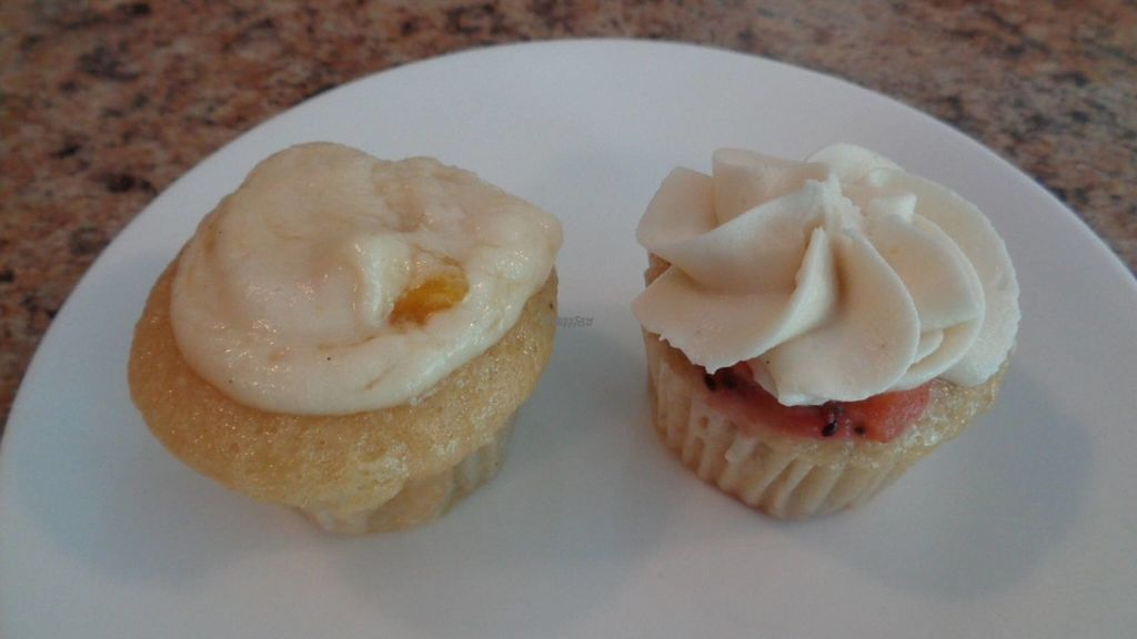 """Photo of Vegan Sweet Tooth  by <a href=""""/members/profile/GeaugaVegan"""">GeaugaVegan</a> <br/>Summer mini cupcake flavors (I think these were banana kiwi strawberry and pineapple mango) <br/> August 24, 2016  - <a href='/contact/abuse/image/27162/171296'>Report</a>"""