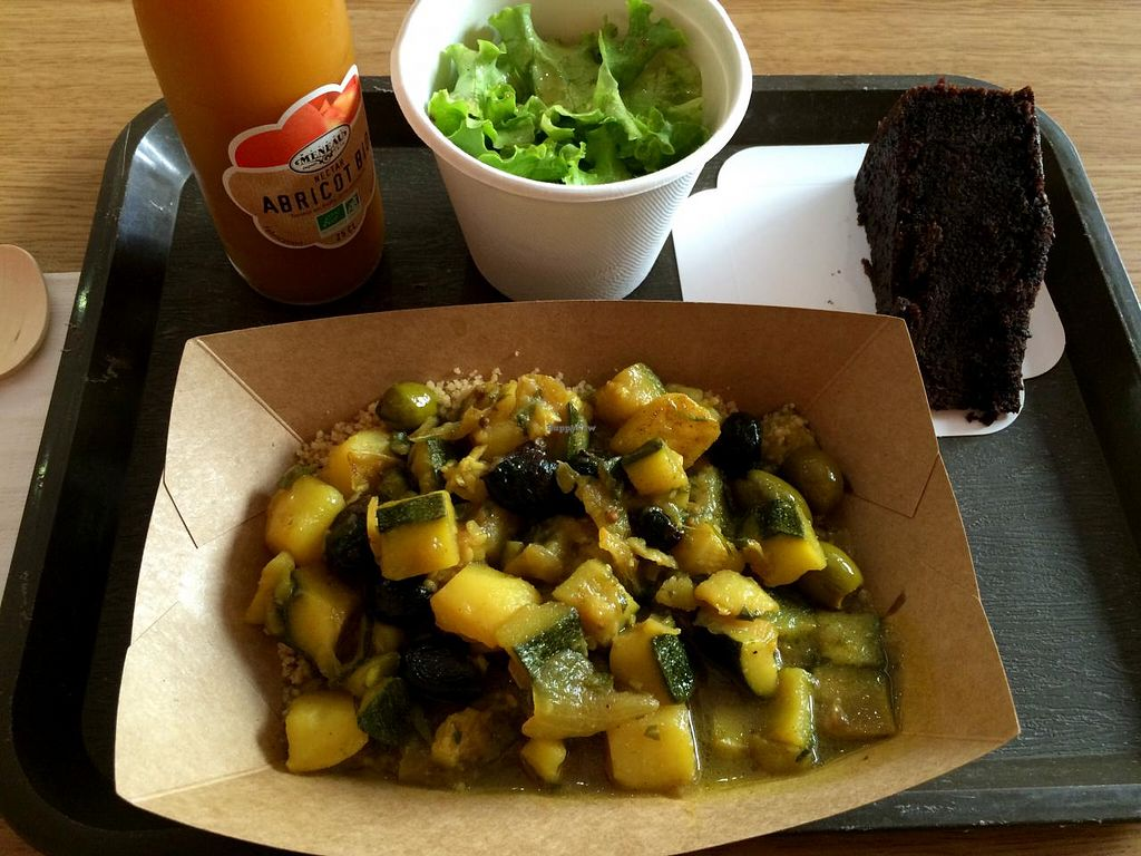 """Photo of Green Bear Coffee - Glandeves  by <a href=""""/members/profile/LisaCupcake"""">LisaCupcake</a> <br/>Zucchini tajine with black olives and preserved lemon, green salad and chocolate cake (all vegan) <br/> June 26, 2015  - <a href='/contact/abuse/image/27183/107326'>Report</a>"""